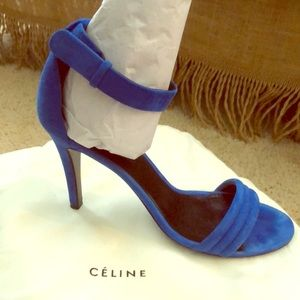 Celine Royal Blue Suede Strappy Heels
